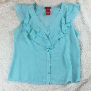 Oscar seafoam color cap sleeve blouse. Size 12 EUC